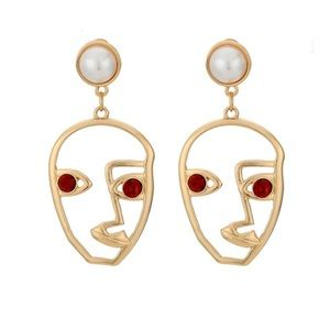 Gold Color Face Statement Earrings